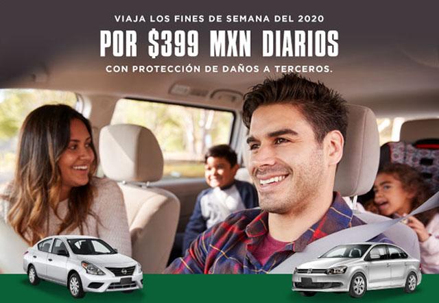 Estàs rentando un auto categoría Estándar con Protección Amplia Daños a Terceros por $399 MXN diarios los fines de semana, en Monterrey. Vigencia del 01 de junio al 13 de diciembre de 2020.