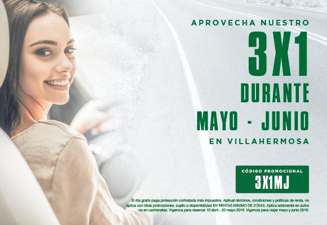 Aprovecha nuestro 3x1 durante Mayo- Junio en Villahermosa por 3 dias llevate 1 dia gratis