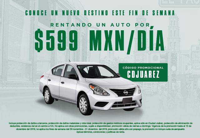 Conoce un nuevo destino este fin de semana rentando un auto por $599 MXN/día