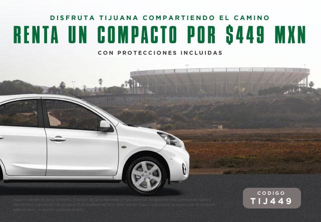 Estás rentando un auto en Tijuana, categoría Compacto del 01 de octubre al 15 de noviembre de 2019 con tarifa TyK, Protección Básica, Conductor adicional gratis e IVA incluidos.
