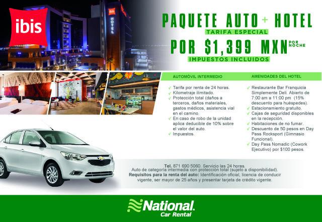 IBIS Auto + Hotel por sólo $1,399 MXN