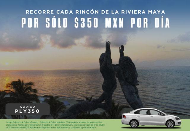 Recorre cada rincón de la Riviera Maya por solo 350 MXN por día.