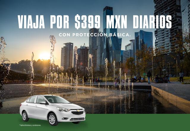 Reserva un auto INTERMEDIO en nuestra sucursal de Santa Fe, con protección básica incluida por  399 MXN diarios durante todo marzo 2020.