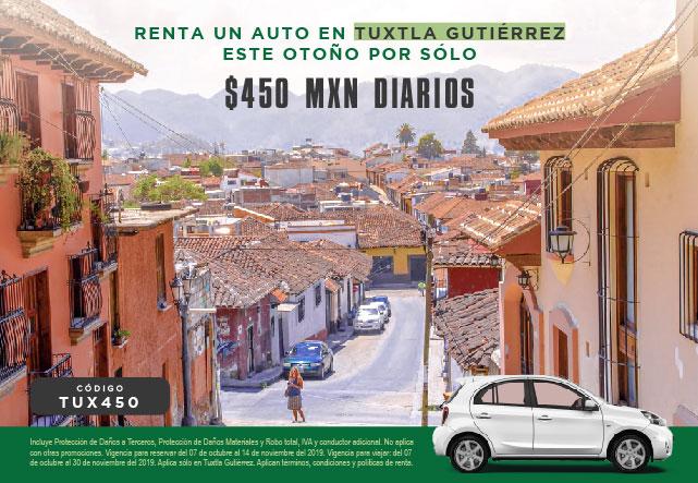Renta un auto en la ciudad de Tuxtla Gutierrez este otoño por 450 MXN el dia con coberturas incluidas
