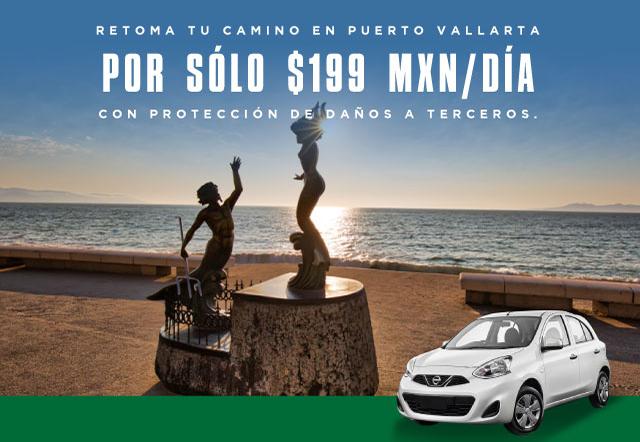Retoma tu camino en Puerto Vallarta rentando un auto por $199 diarios. Incluye Protección Daños a Terceros (Amplia)