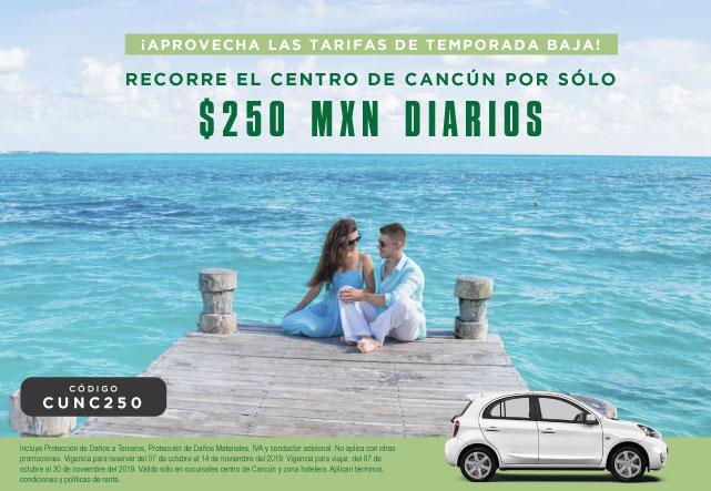 Aprovecha las tarifas de temporada baja recorriendo el centro de Cancun por solo 250 MXN por día.
