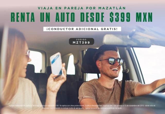 Estás rentando un auto tipo March en Mazatlán con tarifa TyK, Protección daños a terceros y Conductor adicional gratis por $399 MXN diarios. Incluye impuestos. Válida del 01 de octubre al 15 de noviembre únicamente con prepago.